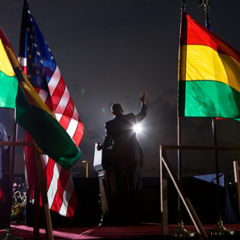 President Barack Obama speaks to the crowd at the departure ceremony at Accra airport in Ghana, July 11, 2009.   (Official White House photo by Pete Souza)  This official White House photograph is being made available for publication by news organizations and/or for personal use printing by the subject(s) of the photograph. The photograph may not be manipulated in any way or used in materials, advertisements, products, or promotions that in any way suggest approval or endorsement of the President, the First Family, or the White House.